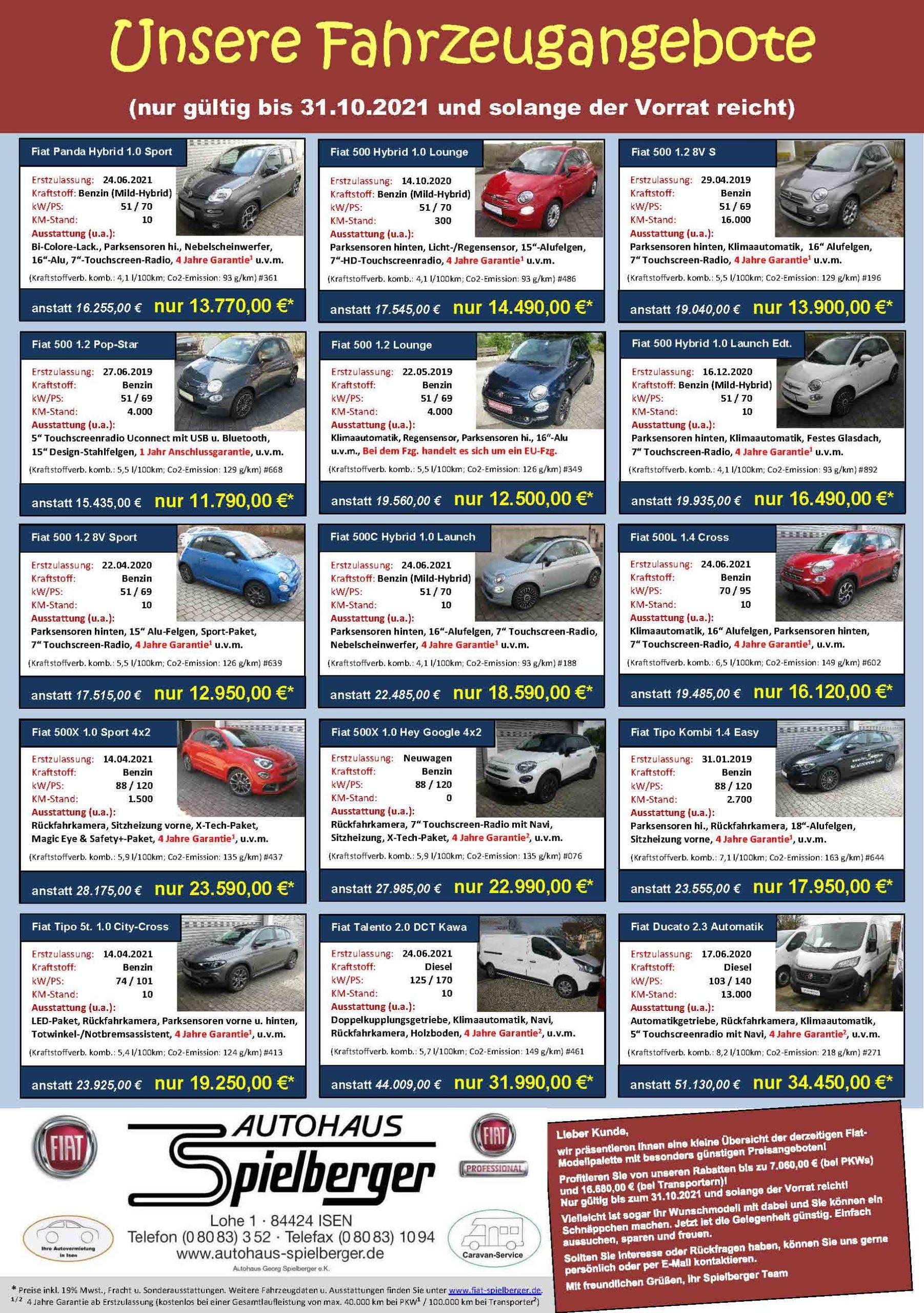 Fahrzeug Angebote Oktober